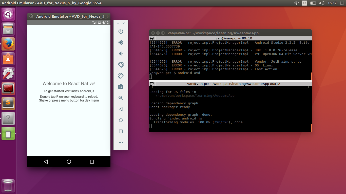 Setting up React Native Android on Ubuntu 16 04 - Simple Code